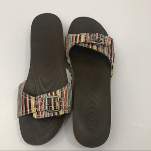 Dr. Scholl's slip on multicolored stripe sandal 10